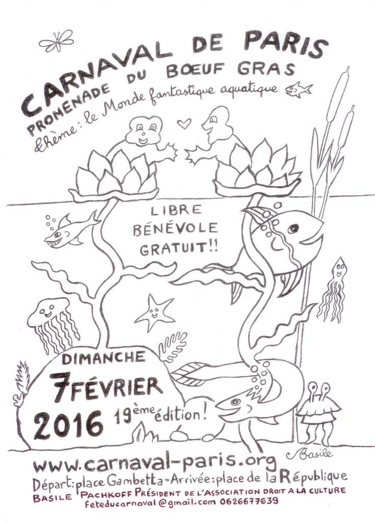 AFFICHE CARNAVAL DE PARIS 2016 - NOIR ET BLANC