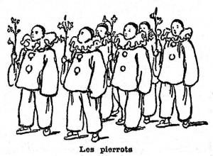 Pierrots montmartrois à la Promenade de la Vache enragée, Mi-Carême 1896