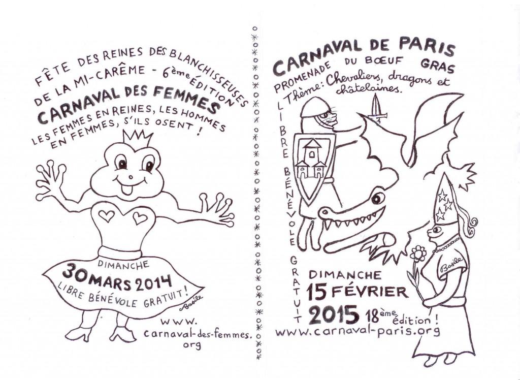 Tract d'appel au Carnaval des Femmes 2014 et au Carnaval de Paris 2015 - Recto