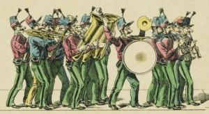 Fanfare bigophonique de l'Armée du Chahut des étudiants parisiens à la Mi-Carême à Paris 1894.