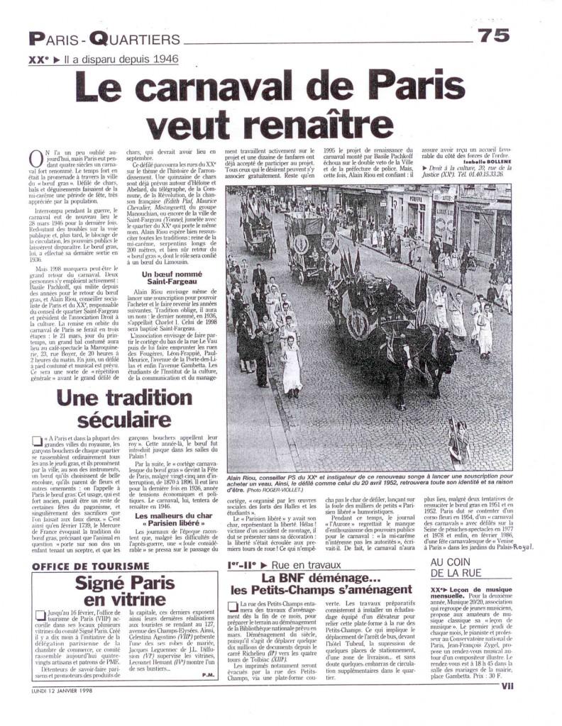 6 - Article du Parisien du 12 janvier 1998