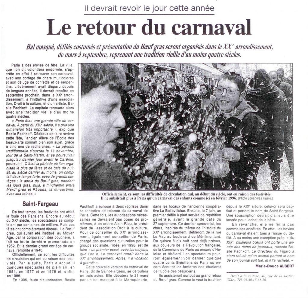 7 - Premier article du Figaro le 26 janvier 1998