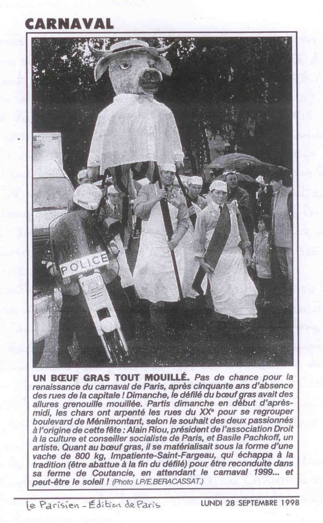 8 - Article du Parisien le lendemain du défilé de renaissance, le 28 septembre 1998
