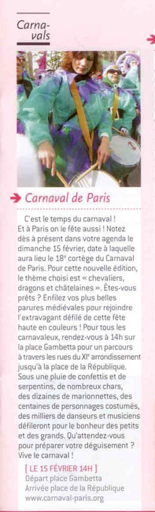 1 - Que tal Paris - Février 2015 - En plus de cet article, la 4ème de couverture reproduisait l'affiche du Carnaval de Paris 2015.
