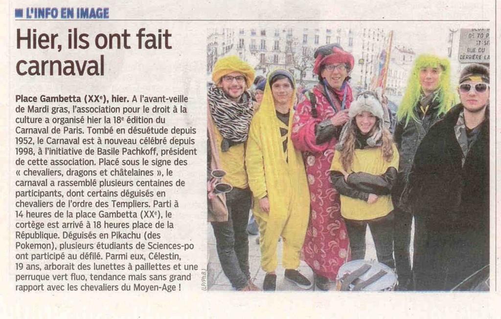9 - Le Parisien - Le Journal de Paris - 16 février 2015