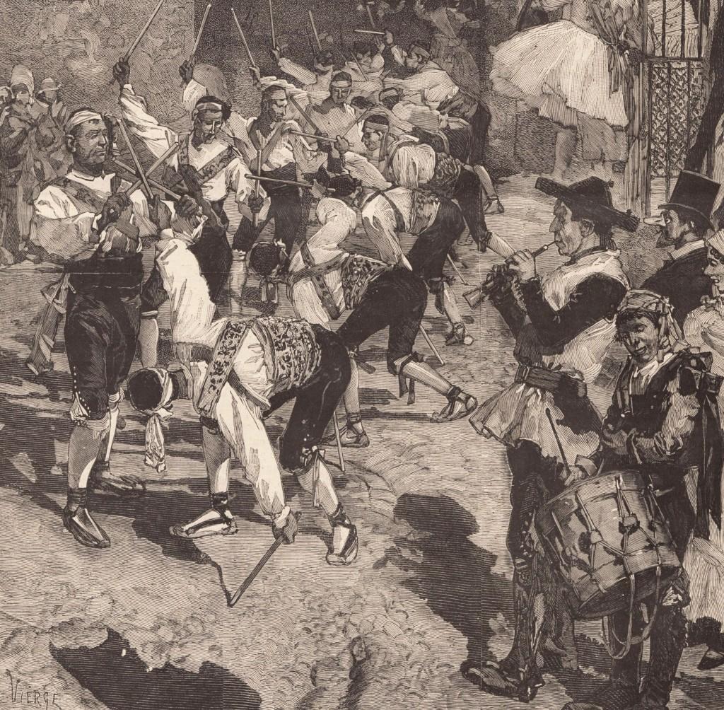 La Danse des bâtons au Carnaval de Madrid 1879 - La Danza de los palos - Le Monde illustré - 1er mars 1879